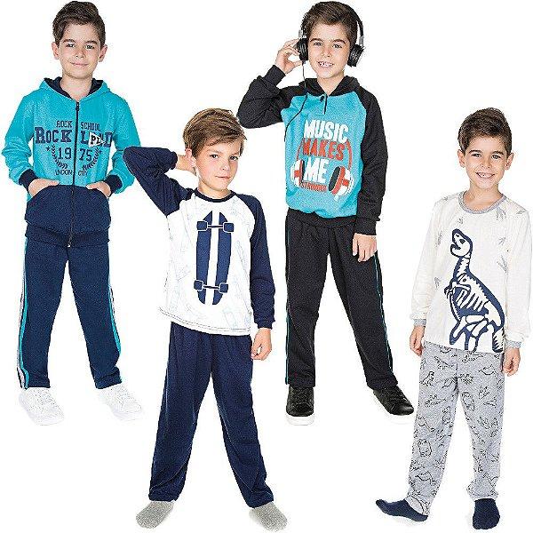Roupa Infantil Menino Kit 2 Conjuntos 2 Pijamas Inverno