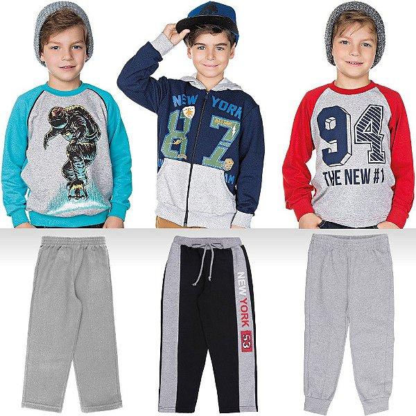 Roupa Infantil Menino Kit Jaqueta Blusão Camiseta e Calças