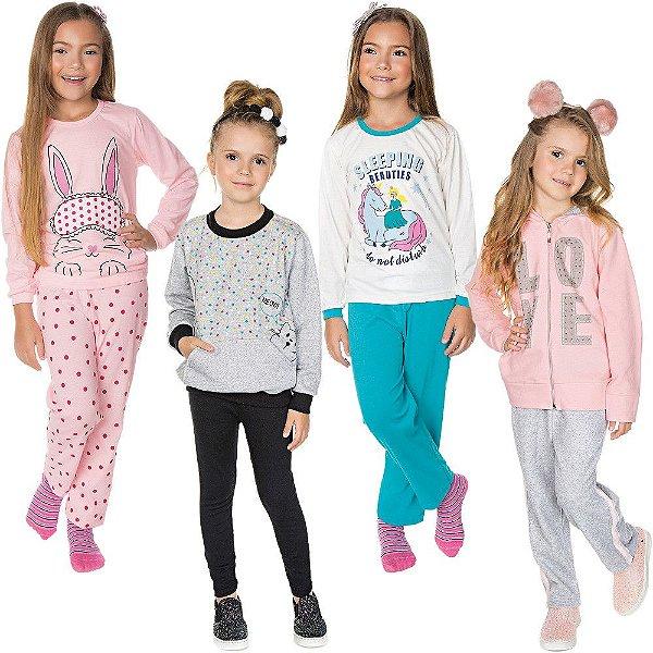 Roupa Infantil Menina Kit Conjuntos e Pijamas 8 Peças
