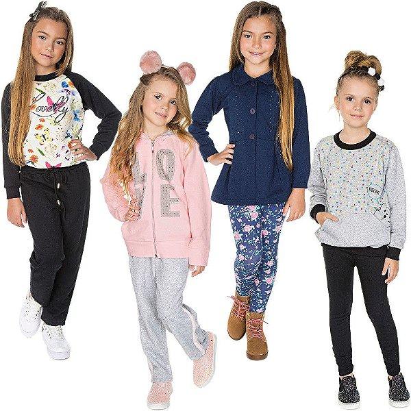 Roupa Infantil Menina Kit 4 Conjuntos Longos Inverno 8 Peças