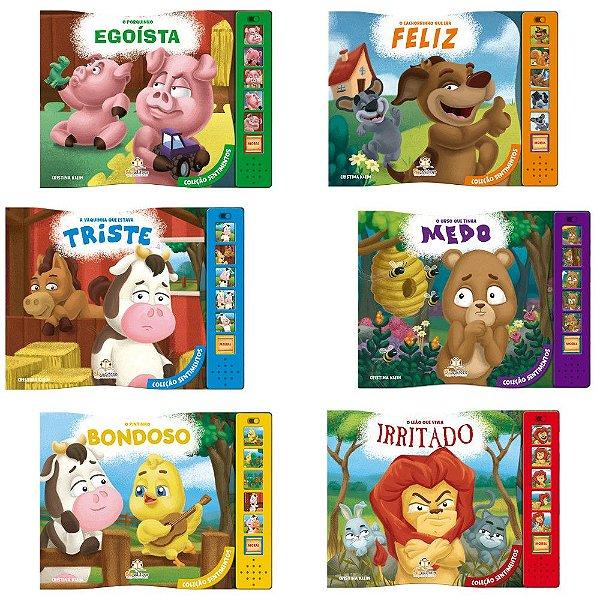 Coleção Sentimentos Blu Editora 6 Livros Infantis Sonoros