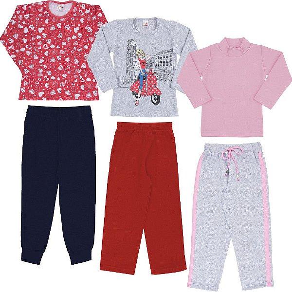 Roupa Infantil Menina Kit 3 Blusas 3 Calças Inverno Isensee