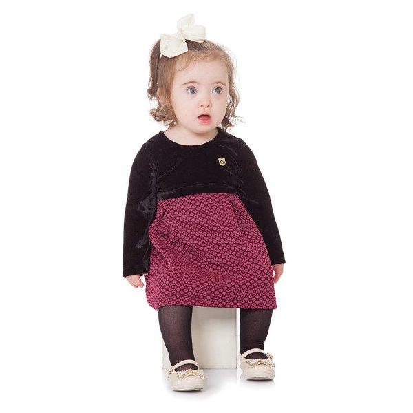 Roupa Bebê Menina Vestido Manga Longa Inverno Abrange