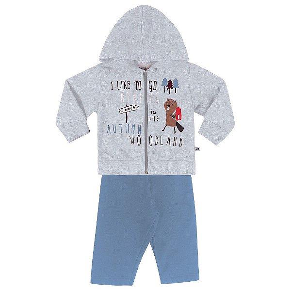 Roupa Bebê Menino Conjunto Jaqueta e Calça Moletom Abrange