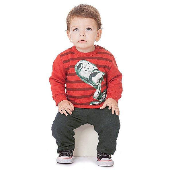 Roupa Bebê Menino Conjunto Blusão e Calça de Inverno Abrange