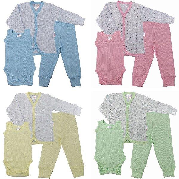 Roupa De Bebê Kit 4 Conjuntos Pagão Poá Calça Body E Casaco