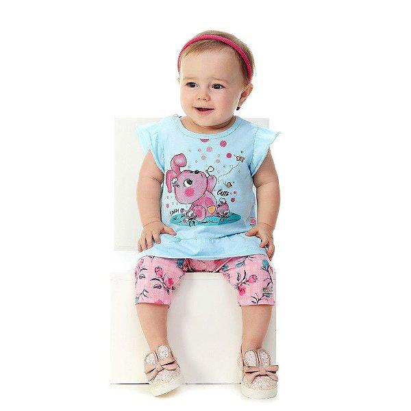 Roupa Bebê Menina Conjunto Blusa de Malha e Capri de Cotton