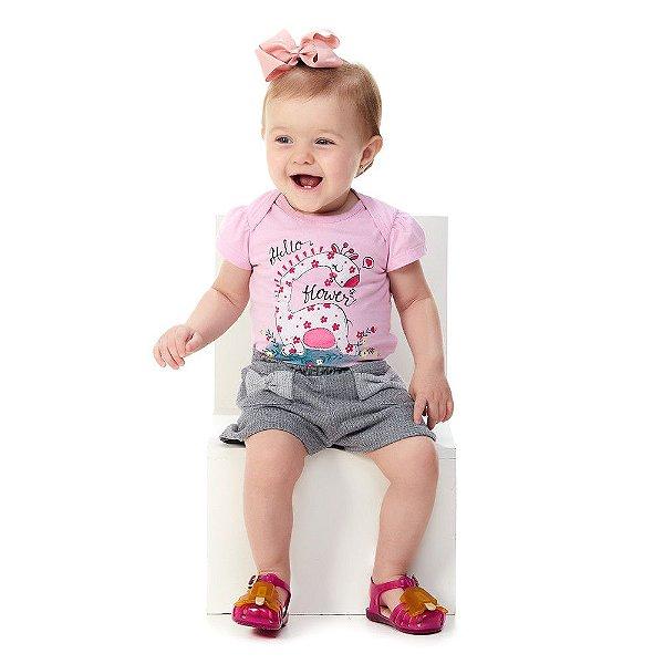 Roupa Bebê Menina Conjunto Blusa e Shorts Verão Abrange