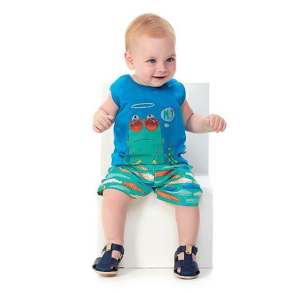 Roupa Bebê Menino Conjunto Regata Malha e Bermuda Microfibra