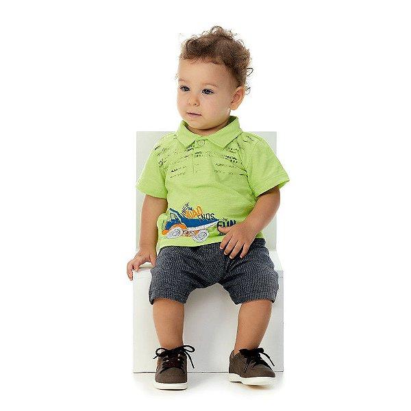 Roupa Bebê Menino Conjunto Camisa Polo e Bermuda Verão