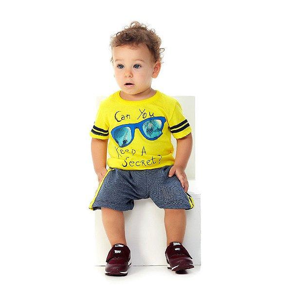 Roupa Bebê Menino Conjunto Camiseta Malha Bermuda Moletinho
