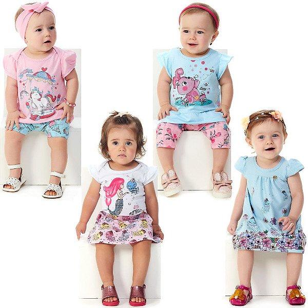 Roupa Bebê Menina Kit 3 Conjuntos e 1 Vestido Verão Abrange