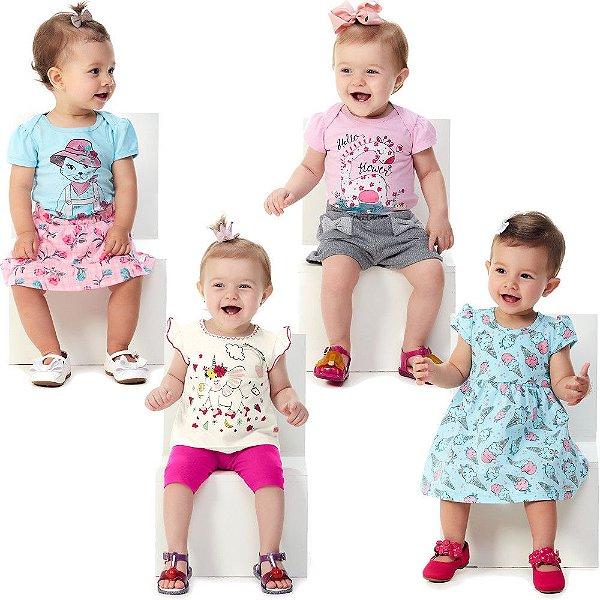 Roupa Bebê Menina Kit 3 Conjuntos 1 Vestido 7 Peças Abrange