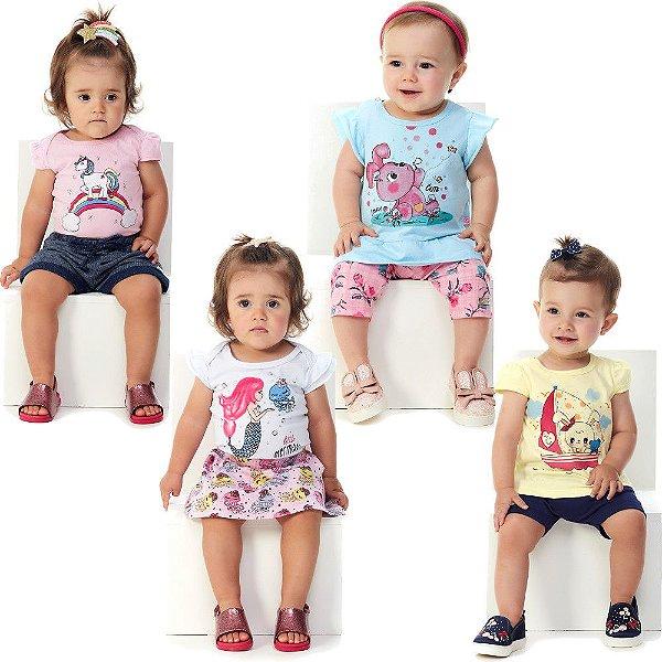 Roupa Bebê Menina Kit 4 Conjuntos 8 Peças Curto de Verão