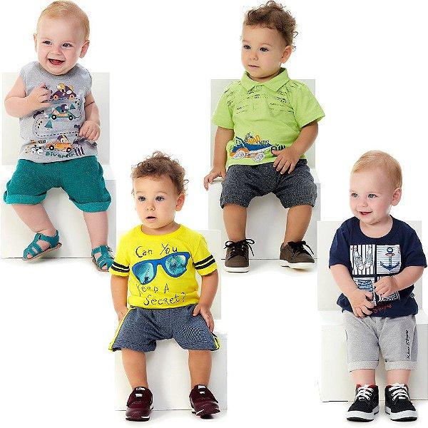 Roupa Bebê Menino Kit 4 Conjuntos 8 Peças Verão Abrange