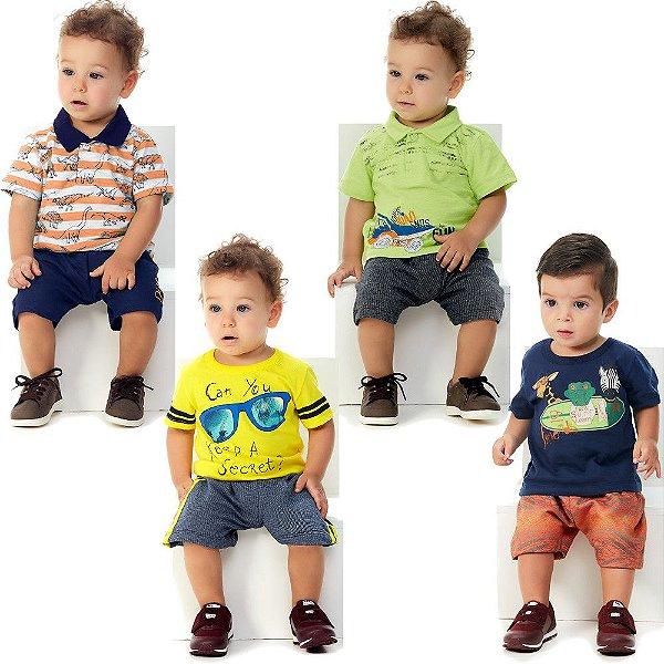 Roupa Bebê Menino Kit 2 Polos 2 Camisetas 4 Bermudas Abrange