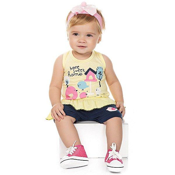 Roupa Bebê Menina Conjunto Regata com Babado e Shorts Verão