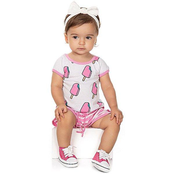Roupa Bebê Menina Conjunto Camiseta Meia Manga e Shorts