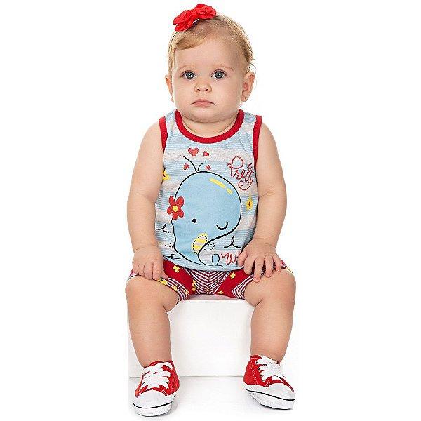 Roupa Bebê Menina Conjunto Camiseta com Babado e Shorts