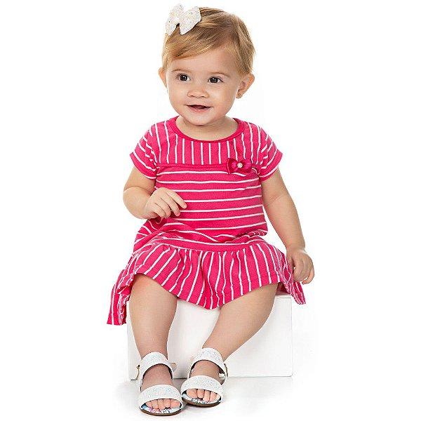 Roupa Bebê Menina Vestido Meia Manga com Laço e Listras