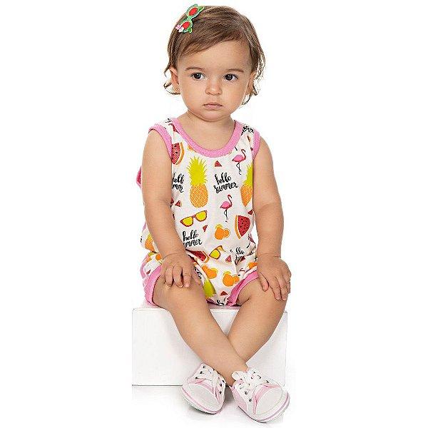 Roupa Bebê Menina Macaquinho Regata Curto de Verão Isensee