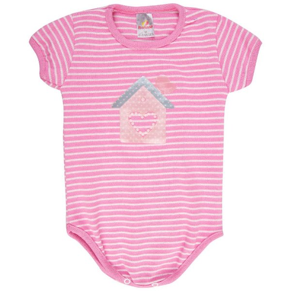 Roupa Bebê Menina Body Curto Ribana Listrado Verão Isensee
