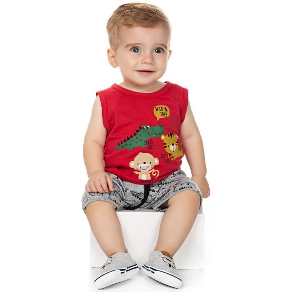Roupa Bebê Menino Conjunto Camiseta Regata e Bermuda Verão