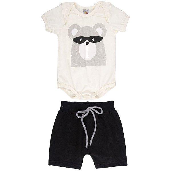 Roupa Bebê Menino Conjunto Body e Shorts Verão Isensee Bear