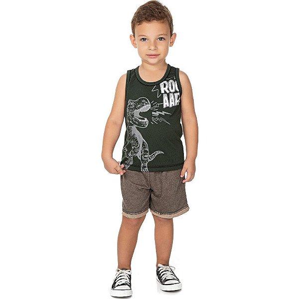 Roupa Bebê Infantil Menino Conjunto Camiseta e Bermuda Dino