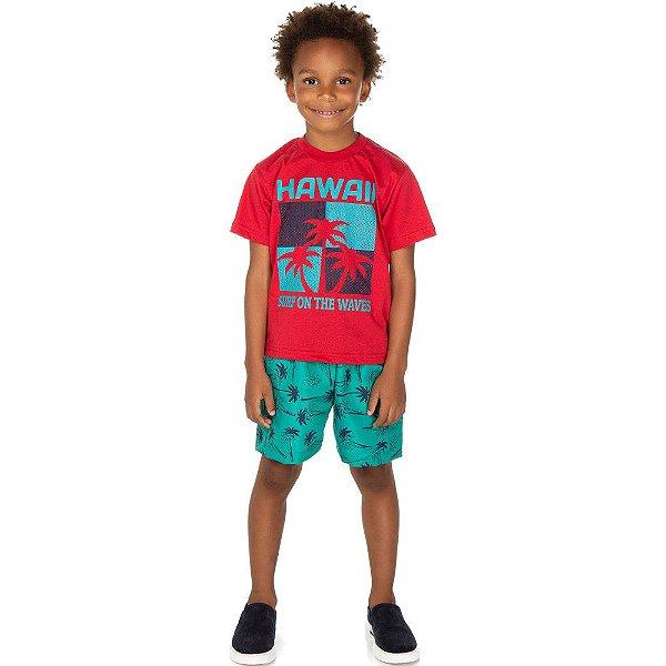Roupa Infantil Menino Conjunto Meia Manga e Bermuda Surf