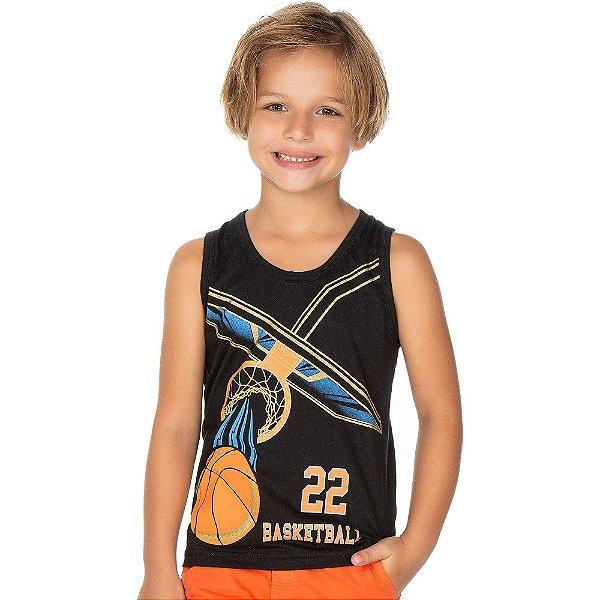 Roupa Infantil Menino Camiseta Regata Estampada Basketball
