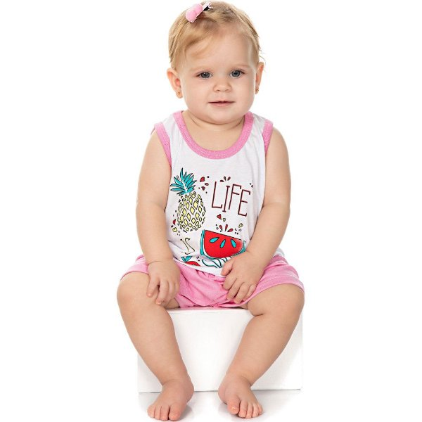 Roupa Bebê Menina Pijama Curto Meia Malha Regata e Shorts