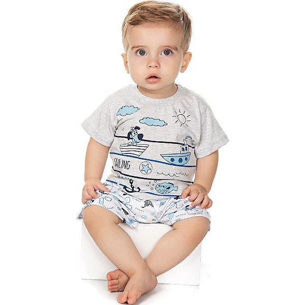 Roupa Bebê Menino Pijama Curto Camiseta e Bermuda Barcos