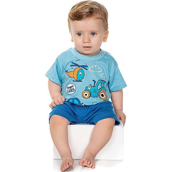 Roupa Bebê Menino Pijama Curto Camiseta e Bermuda Cars