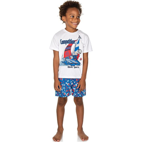 Roupa Infantil Menino Pijama Curto Meia Manga e Shorts