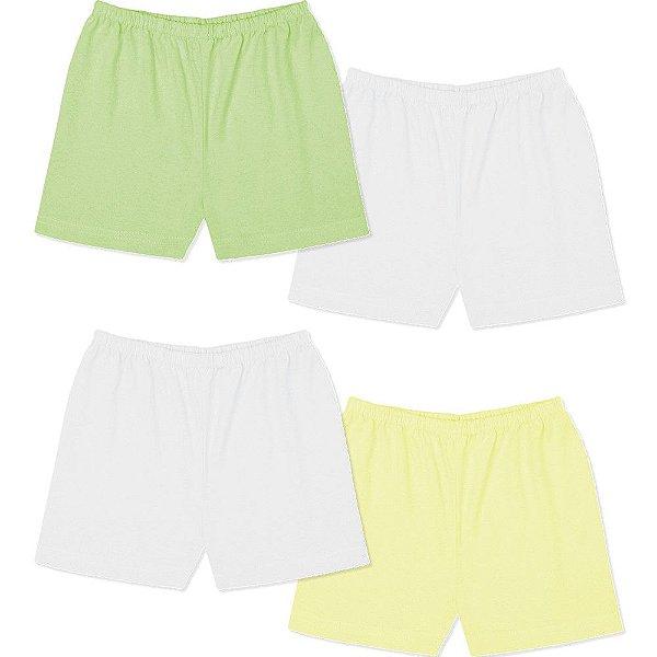 Roupa Bebê Menino Menina Unissex Shorts Liso Kit 4 Peças