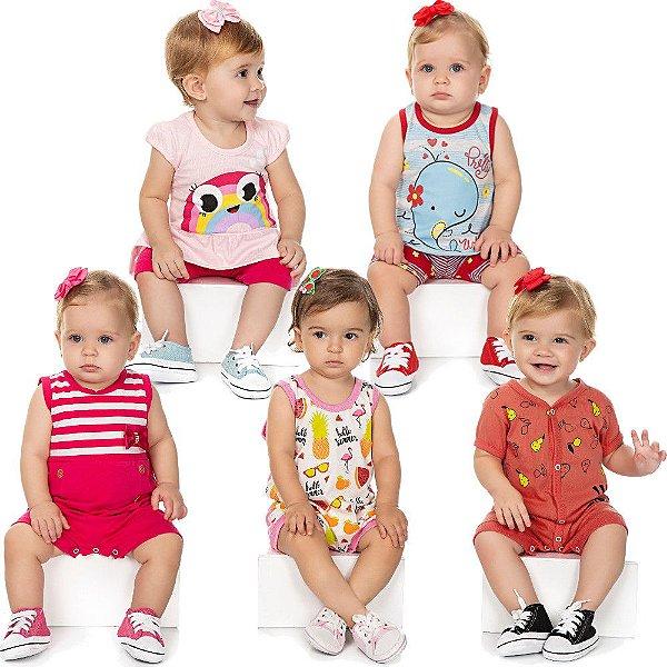 Roupa Bebê Menina Kit 3 Macaquinhos 2 Conjuntos Curto Verão