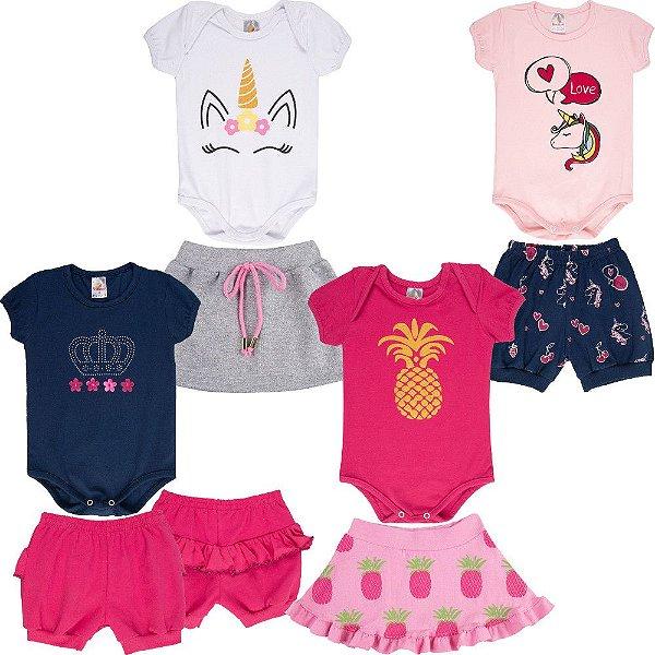 Roupa Bebê Menina Kit 4 Conjuntos com Body Curto Verão