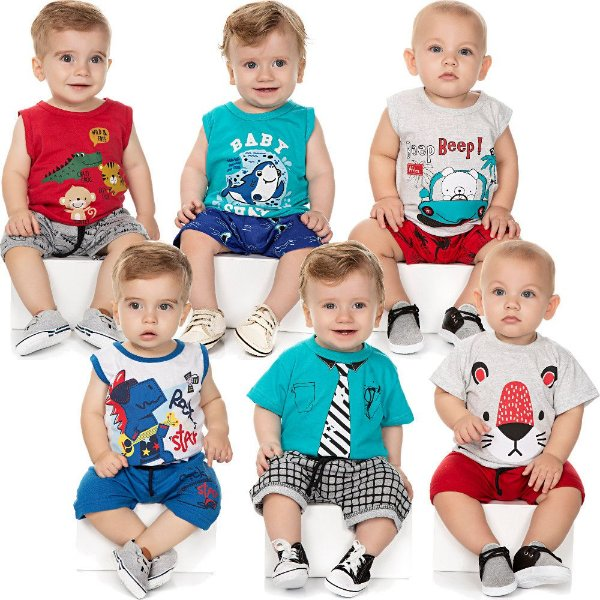 Roupa Bebê Menino Kit 6 Conjuntos Curto de Verão Isensee