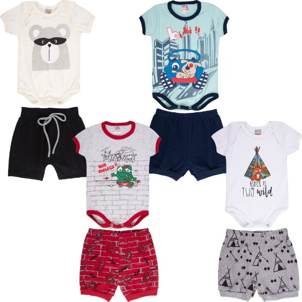 Roupa Bebê Menino Kit 4 Conjuntos Body e Shorts Curto Verão