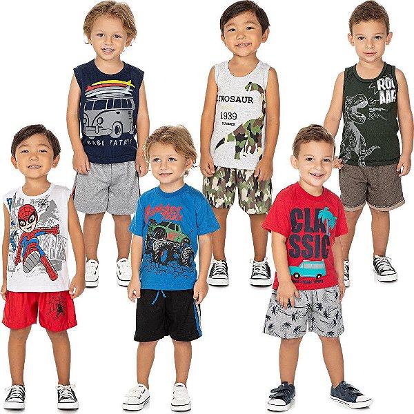 Roupa Bebê Infantil Menino Kit 6 Conjuntos Curto de Verão