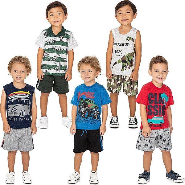Roupa Bebê Infantil Menino Kit 5 Conjuntos Curto de Verão