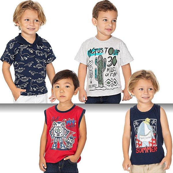 Roupa Bebê Infantil Menino Kit 4 Camisetas Verão Isensee