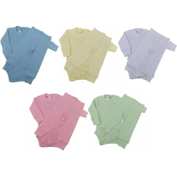 Roupa de Bebê Infantil Kit 5 Conjunto Longo Body Calça Mijão