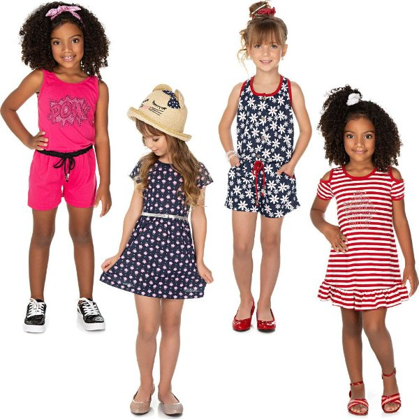 Roupa Infantil Menina Kit 2 Macaquinhos e 2 Vestidos Isensee