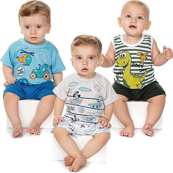 Roupa Bebê Menino Kit 3 Pijamas Curtos Verão Meia Malha