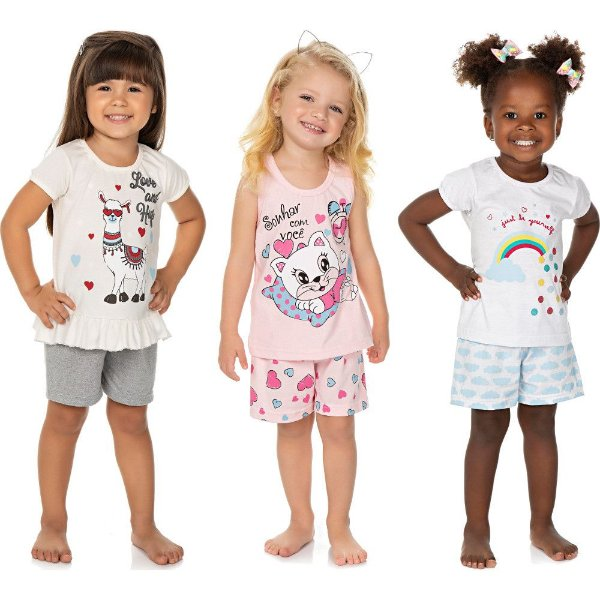 Roupa Bebê Infantil Menina Kit 3 Pijamas Curtos de Verão