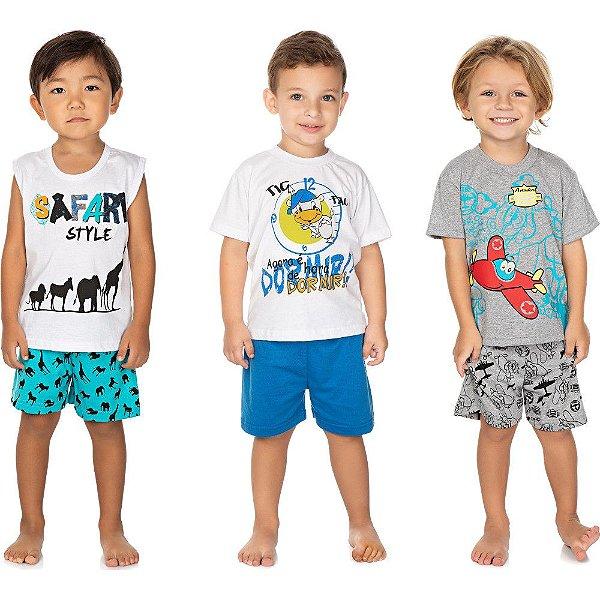 Roupa Bebê Infantil Menino Kit 3 Pijamas Curtos de Verão