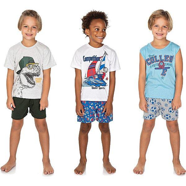Roupa Infantil Menino Kit 3 Pijamas Curto Verão 100% Algodão
