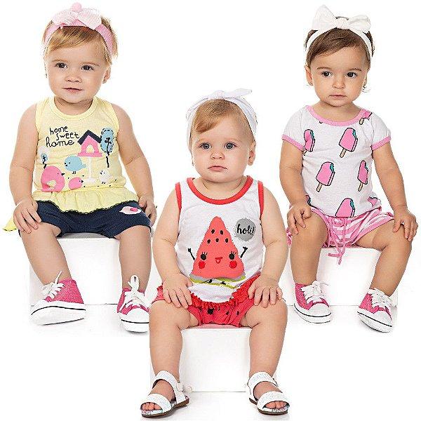 Roupa Bebê Menina Kit 3 Conjuntos Camiseta e Shorts Isensee